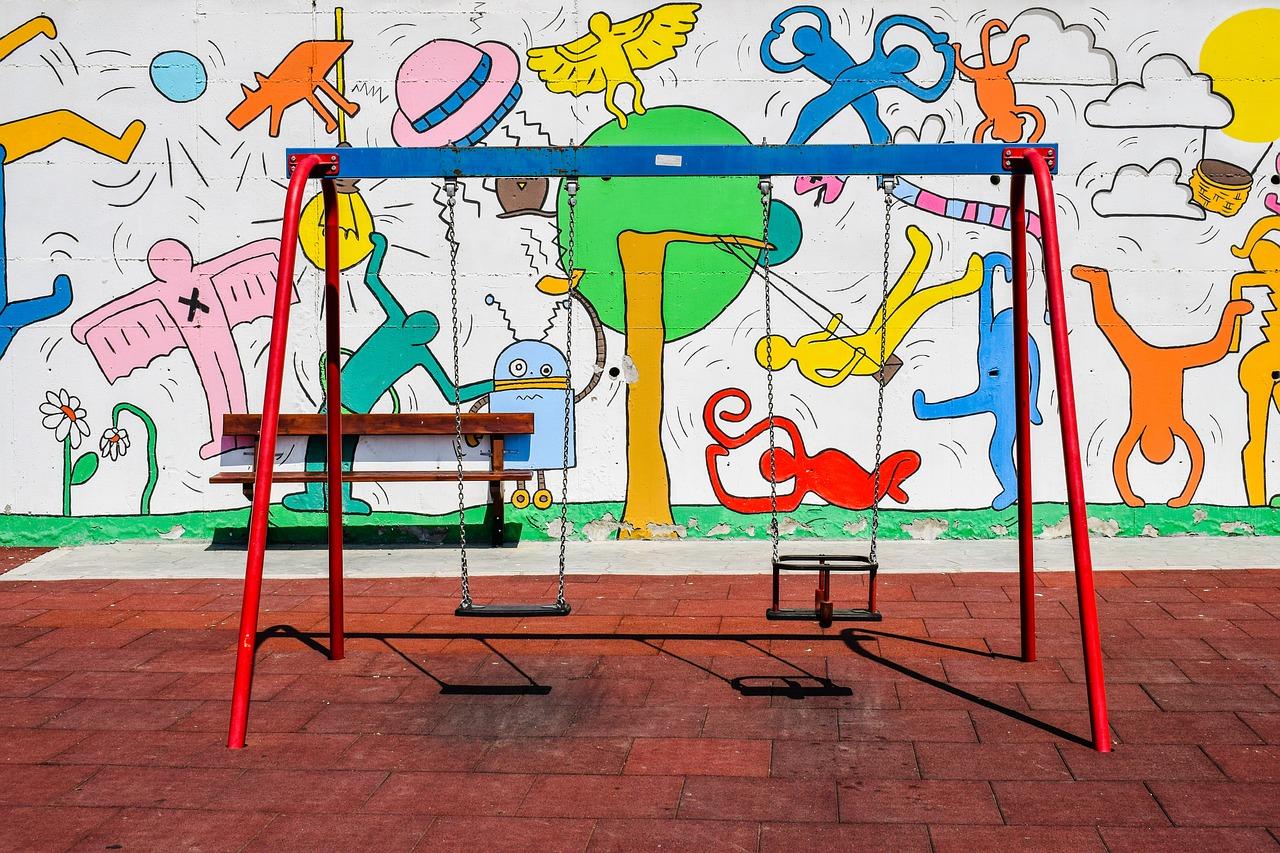 playground, swing, kindergarten